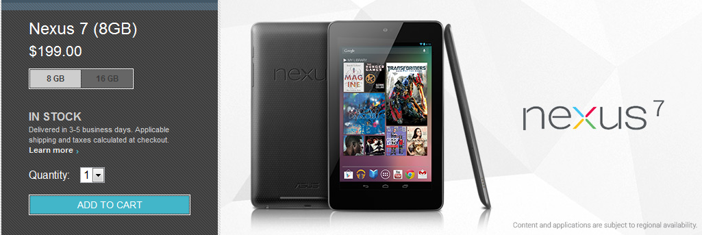 Il Nexus 7 8 GB è finalmente disponibile sul Play Store