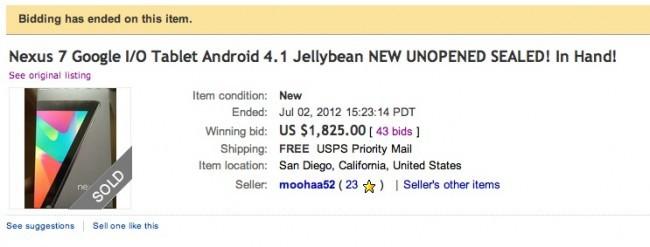 Un Nexus 7 venduto su eBay per quasi duemila dollari: ne valeva davvero la pena?