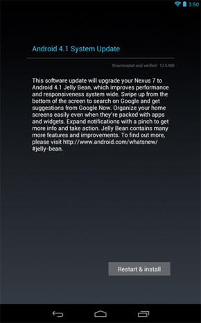 I primi Nexus 7 stanno ricevendo Android Jelly Bean 4.1.1