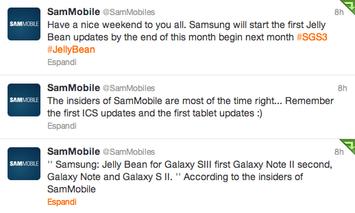 Samsung e Jelly Bean: Galaxy S III, Galaxy Note II, Galaxy Note e Galaxy S II