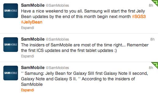 Samsung e Jelly Bean: Galaxy S III, Galaxy Note II, Galaxy Note e Galaxy S II
