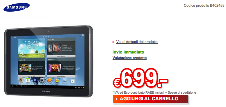 Disponibile su Redcoon il Galaxy Note 10.1 a 699€