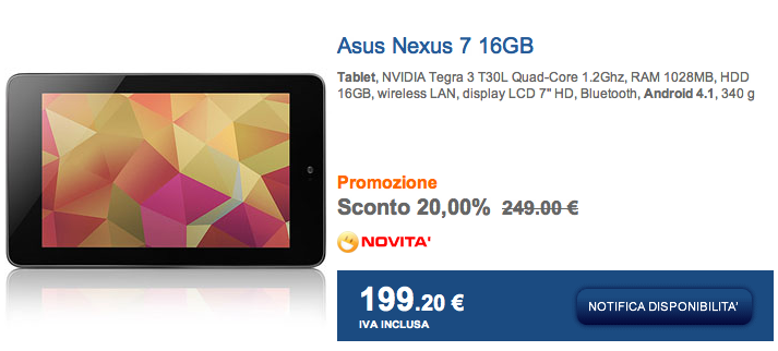 Asus Nexus 7 in offerta a 199 euro da Marcopolo Shop