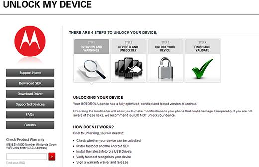 Motorola: online il sito per sbloccare il bootloader dei dispositivi