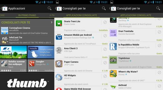 """Play Store Mobile : Google aggiunge la sezione """"Consigliati per te"""""""