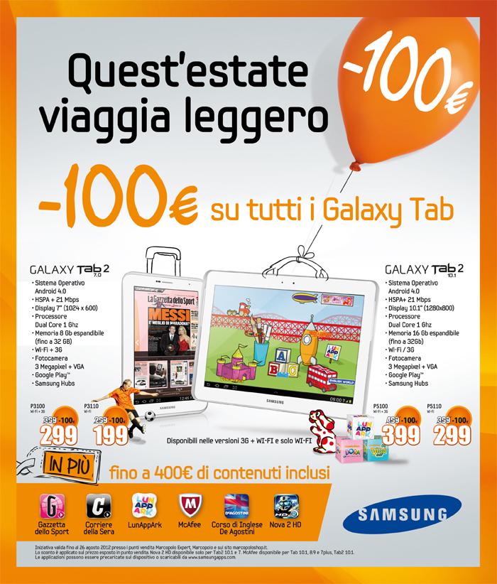 MarcoPolo: -100 € su tutti i Galaxy Tab
