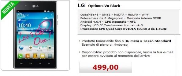 LG Optimus Vu su MediaWorld Online a 499€