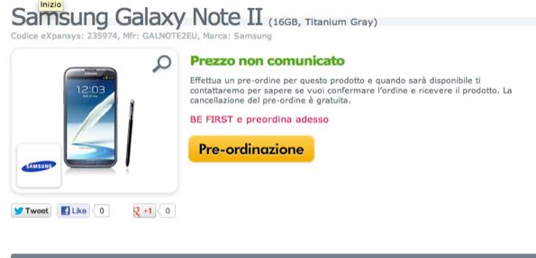 Samsung Galaxy Note 2 : Expansys apre i preordini