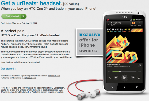 HTC: in regalo le cuffie urBeats a chi compra un One X e rottama l'iPhone