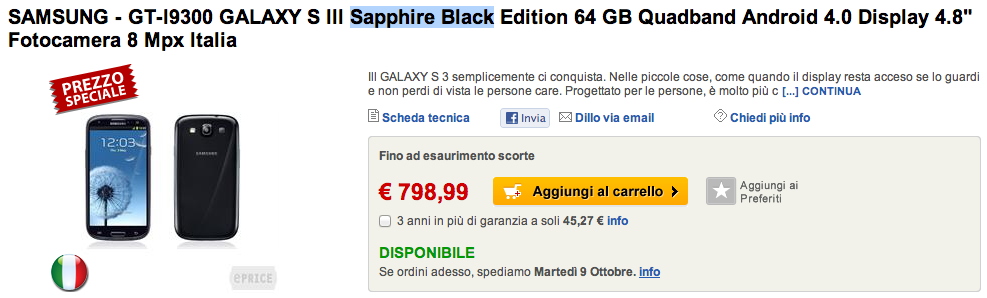 Samsung Galaxy S III Sapphire Black 64 GB disponibile su ePrice a 798€