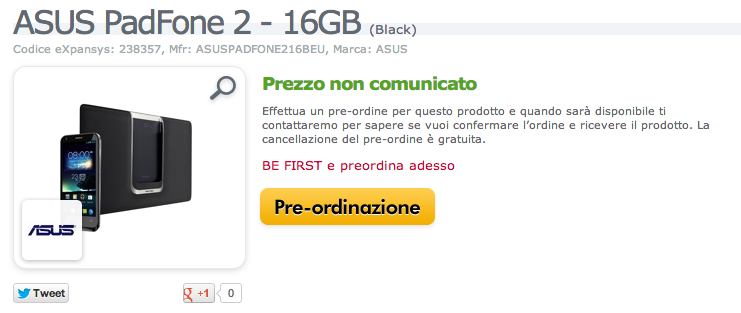 Asus Padfone 2 16GB in preordine su Expansys