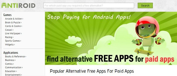 Antiroid: Trovare facilmente alternative gratuite ad applicazioni a pagamento.