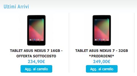 Nexus 7 32 GB in Italia da metà Novembre, iniziati i preordini