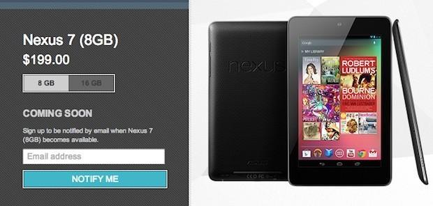 Il Nexus 7 8GB non è più disponibile sul Play Store, modello da 32GB in arrivo?
