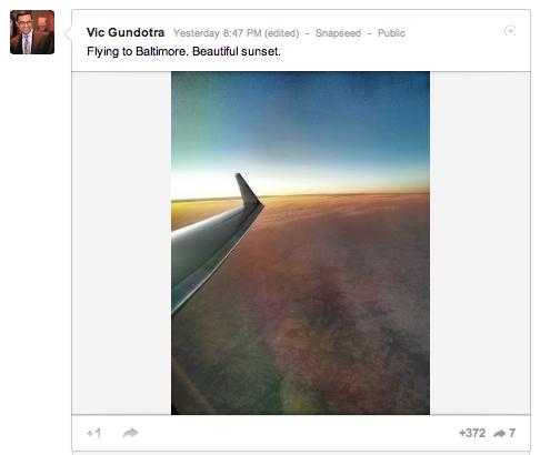 Snapseed per Android compare sul profilo Google+ di Vic Gundotra