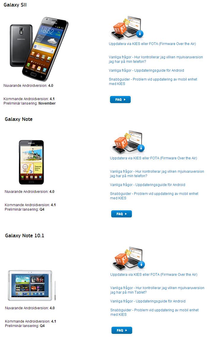 Samsung Svezia: ecco le date di aggiornamento a Jelly Bean per Galaxy S2, Galaxy Note e Galaxy Note 10.1