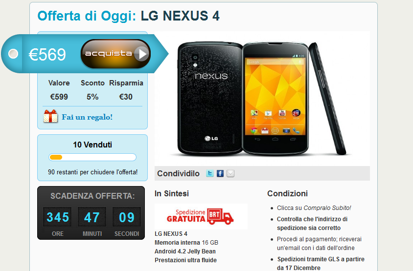 LG Nexus 4 a 569 € spedizione inclusa su Grouphone.it