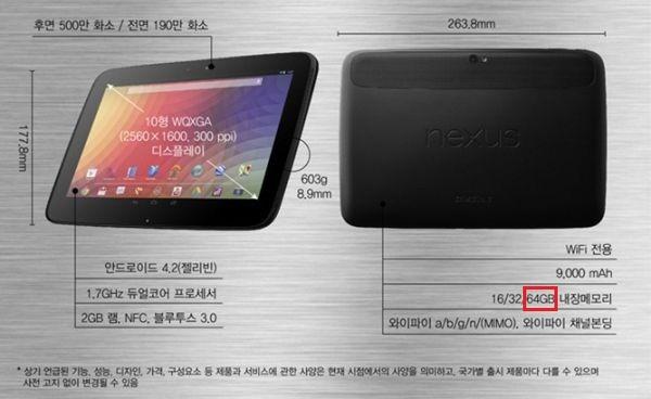 Il Nexus 10 da 64 GB esiste o no? Sul sito di Samsung Corea sparisce