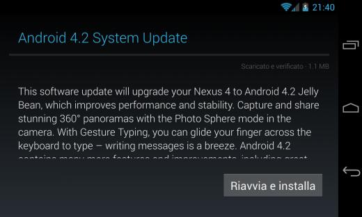 Android 4.2.1 arriva ufficialmente in Italia via OTA per Nexus 4 e Nexus 7