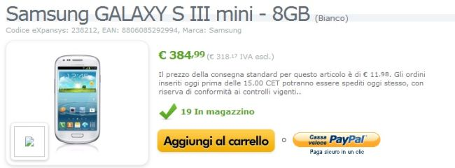 Samsung GALAXY S III Mini disponibile su Expansys a 385€