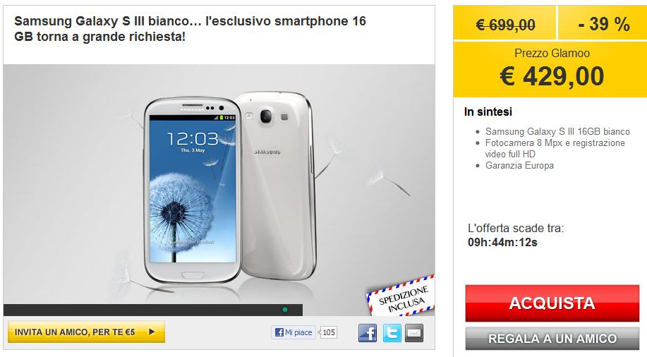 Samsung Galaxy S3: in offerta a 429€ su Glamoo