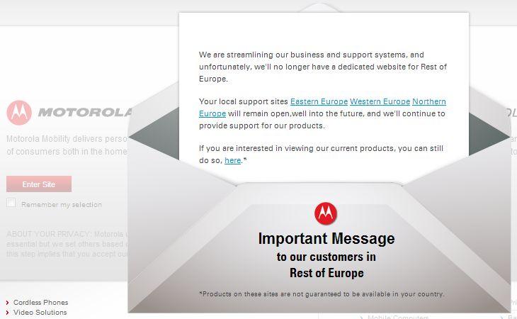 Google chiude alcuni siti internazionali di Motorola Mobility
