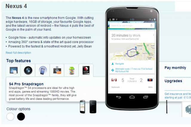 La versione bianca del Nexus 4 compare sul sito di Carphone Warehouse