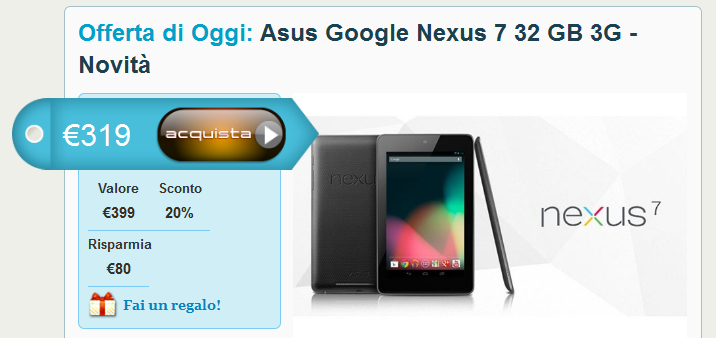 Nexus 7 32GB 3G fa la prima comparsa online sul sito Grouphone.it