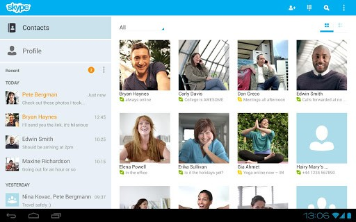 Skype per Android: ora ottimizzato per i tablet
