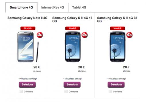 Le versioni LTE di Galaxy Note II e Galaxy S III fanno la loro comparsa su Shop Vodafone