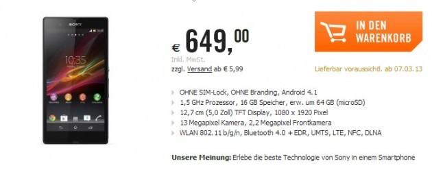 Sony Xperia Z: rivelati alcuni prezzi in Europa