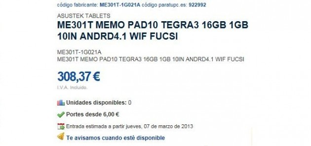 Asus ME301T MeMo: nuovo tablet da 10 pollici con Tegra 3 e Jelly Bean