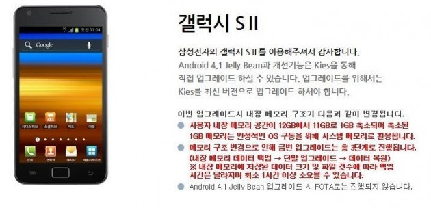 Samsung Galaxy S II: svelati i dettagli dell'aggiornamento ad Android 4.1.2
