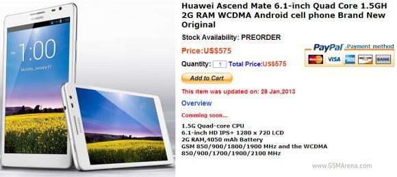 Huawei Ascend Mate in pre-ordine in Cina a 575$
