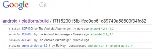 Google pubblica Android 4.2.1_r1.2 build JOP40G sull'AOSP