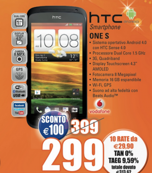 HTC One S in offerta a 299€ presso MarcoPolo Expert