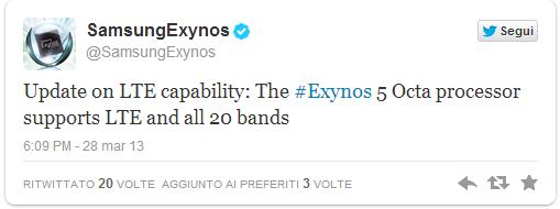 Galaxy S IV: Samsung conferma che l'Exynos 5 Octa supporta l'LTE in tutte le 20 bande