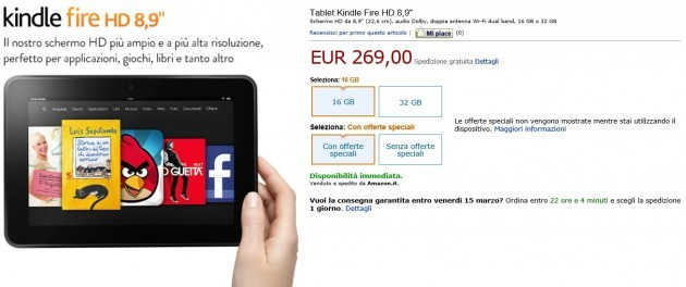 Kindle Fire HD 8.9 disponibile in Italia da 269€
