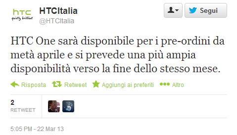 HTC One: i pre-ordini in Italia da metà aprile, la distribuzione entro la fine dello stesso mese
