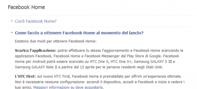 Facebook Home: disponibile sul Play Store ma solo negli Stati Uniti