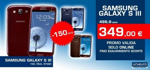 Samsung Galaxy S III in offerta a 349€ sul sito online di Unieuro