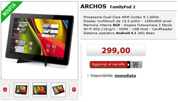 Archos FamilyPad 2: il primo tablet Android da 13