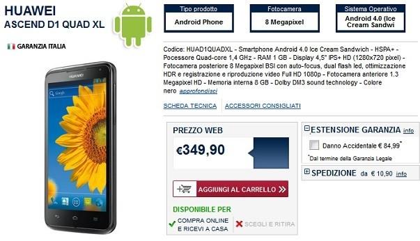 Huawei Ascend D1 Quad XL: smartphone da 4,5