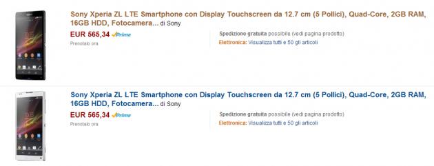 Sony Xperia ZL in vendita in Germania e disponibile in pre-ordine a 565€ su Amazon.it