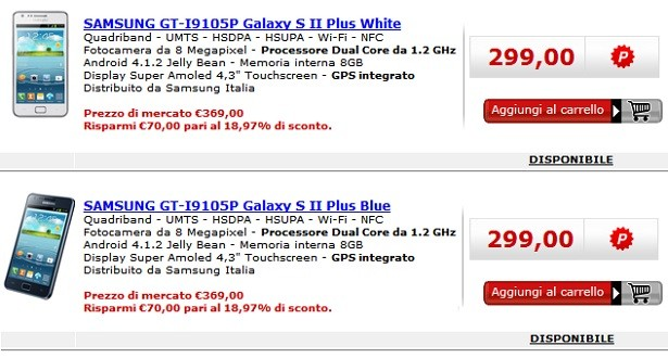 Samsung Galaxy S II Plus disponibile a 299€ da MediaWorld