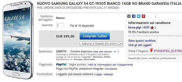 Samsung Galaxy S IV: in vendita con garanzia Italia a 599€ su eBay