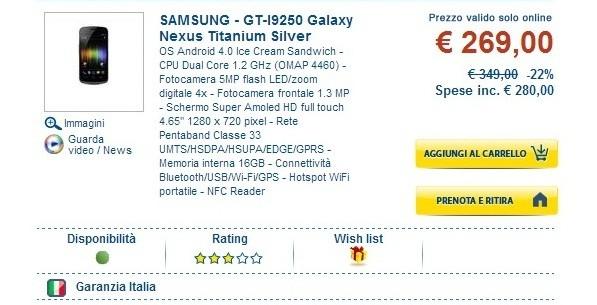 Samsung Galaxy Nexus in offerta online a 269€ da Euronics