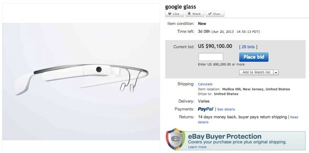 Google Glass già in vendita su eBay a 90mila dollari