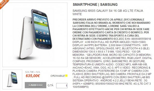 Samsung Galaxy S IV: disponibile a 635€ su Computermemory con Garanzia Italia dal 26 Aprile