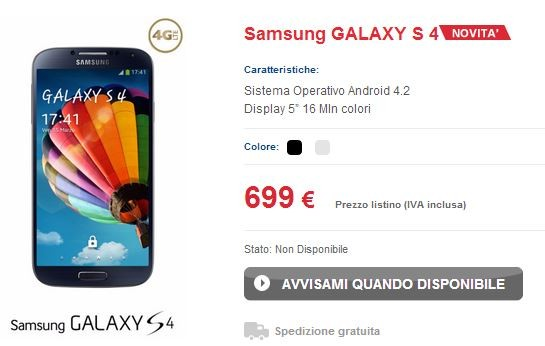Samsung Galaxy S IV: svelate anche le tariffe con TIM